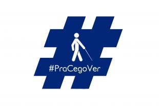 #PraCegoVer: Ilustração de hashtag na cor azul com o desenho de uma pessoa com deficiência segurando uma bengala. Embaixo está escrito a hashtag Pra Cego Ver