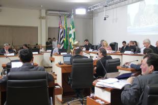 #PraCegoVer: Foto mostra o plenário da Câmara e parte dos vereadores presentes.